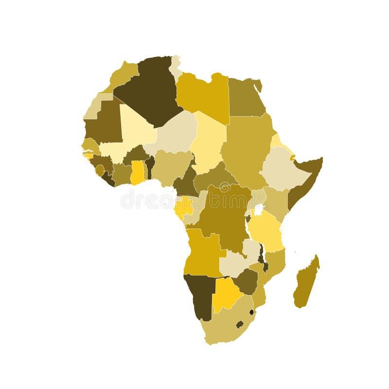 карта Африки коричневая иллюстрация штока