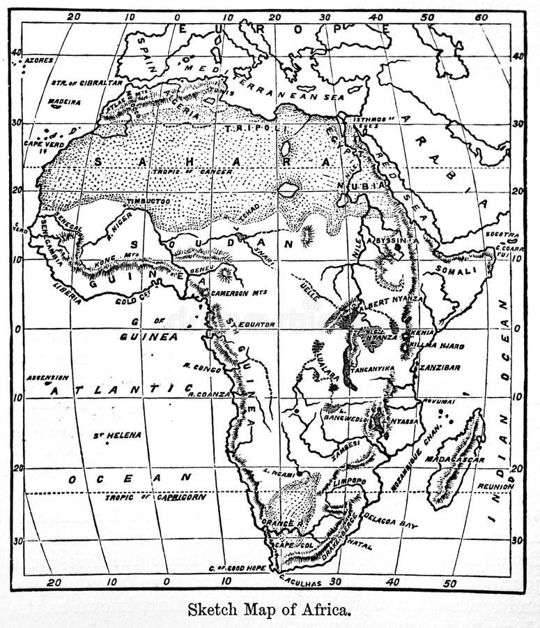 Карта Африки от винтажной энциклопедии Britannica книги a стоковая фотография rf