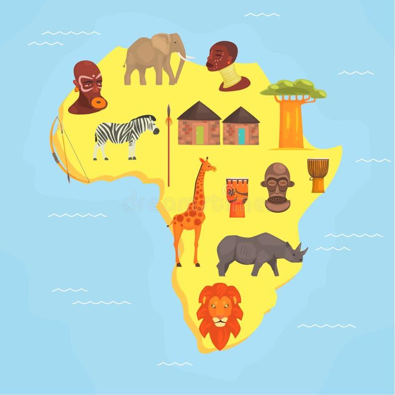 Карта Африки, символы африканского континента с дикими животными, вектора Illustratio аборигенов бесплатная иллюстрация