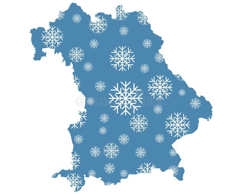 Карта Баварии со снежинками иллюстрация штока