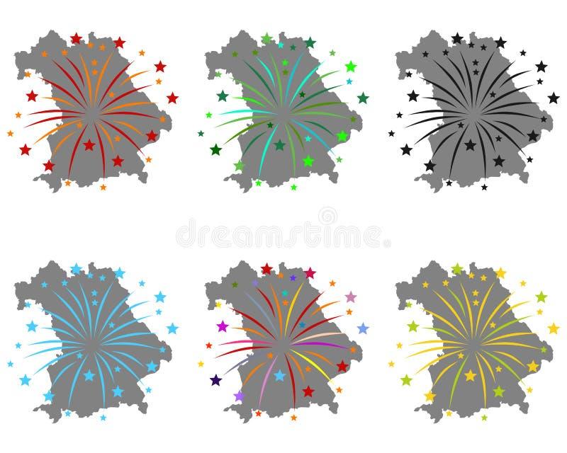 Карта Баварии с фейерверками иллюстрация штока