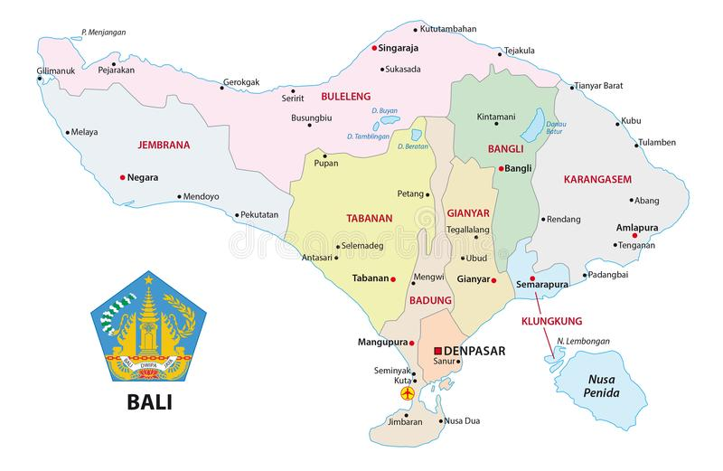Карта Бали административная и политическая вектора с уплотнением бесплатная иллюстрация