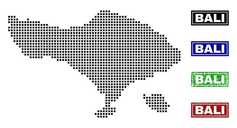 Карта Бали в стиле точки с печатями названия Grunge иллюстрация вектора