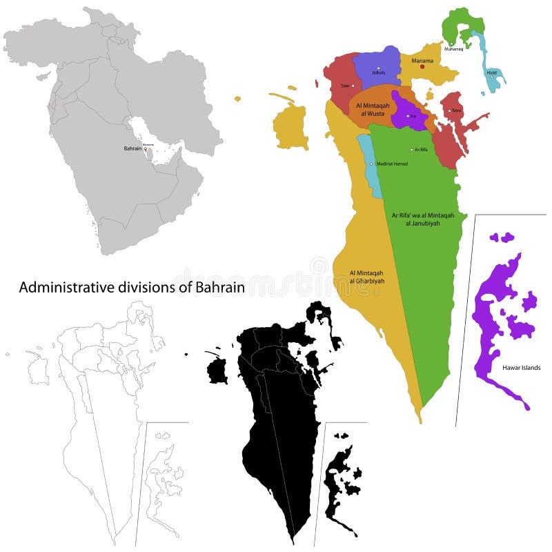 Карта Бахрейна иллюстрация вектора