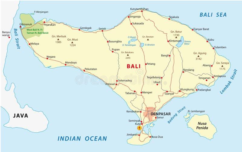 Карта Бали бесплатная иллюстрация