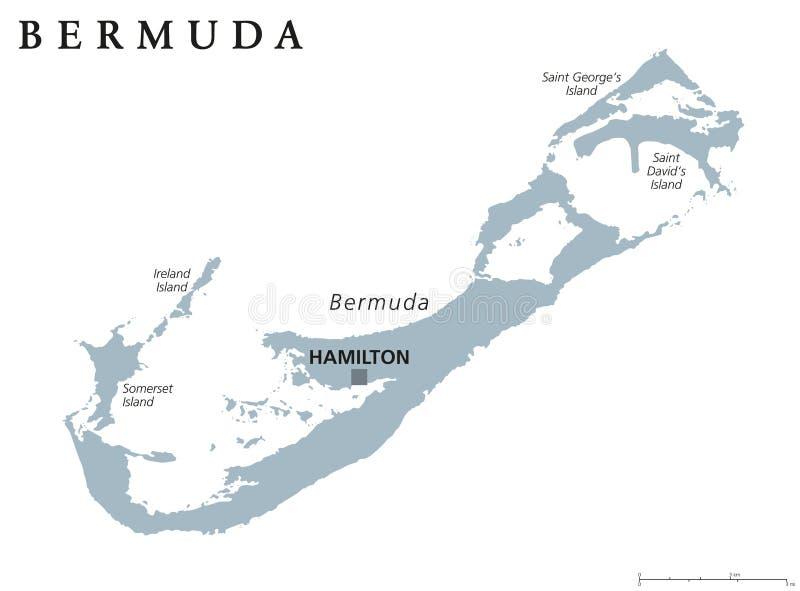 Карта Бермудских Островов политическая иллюстрация вектора