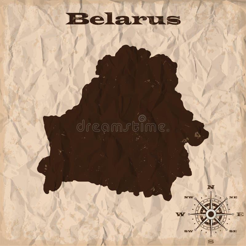 Карта Беларуси старая с grunge и скомканной бумагой также вектор иллюстрации притяжки corel иллюстрация штока