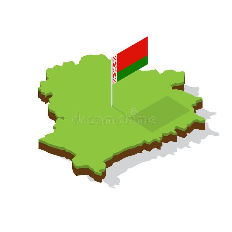 Карта Беларуси с флагом равновеликим стоковые изображения