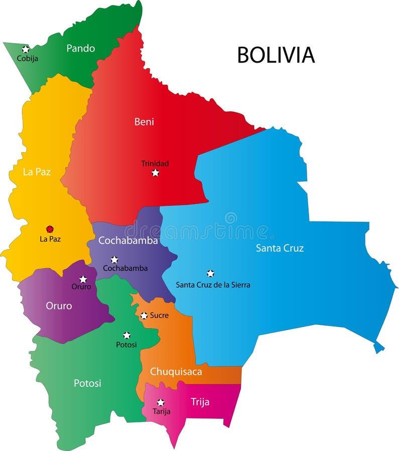 Карта Боливии иллюстрация вектора