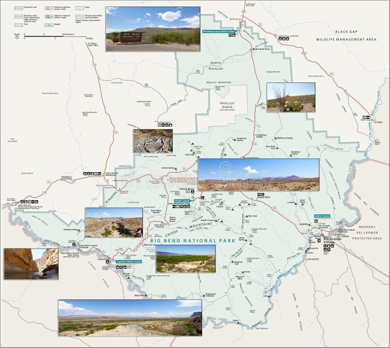 Карта большого национального парка загиба стоковое фото rf