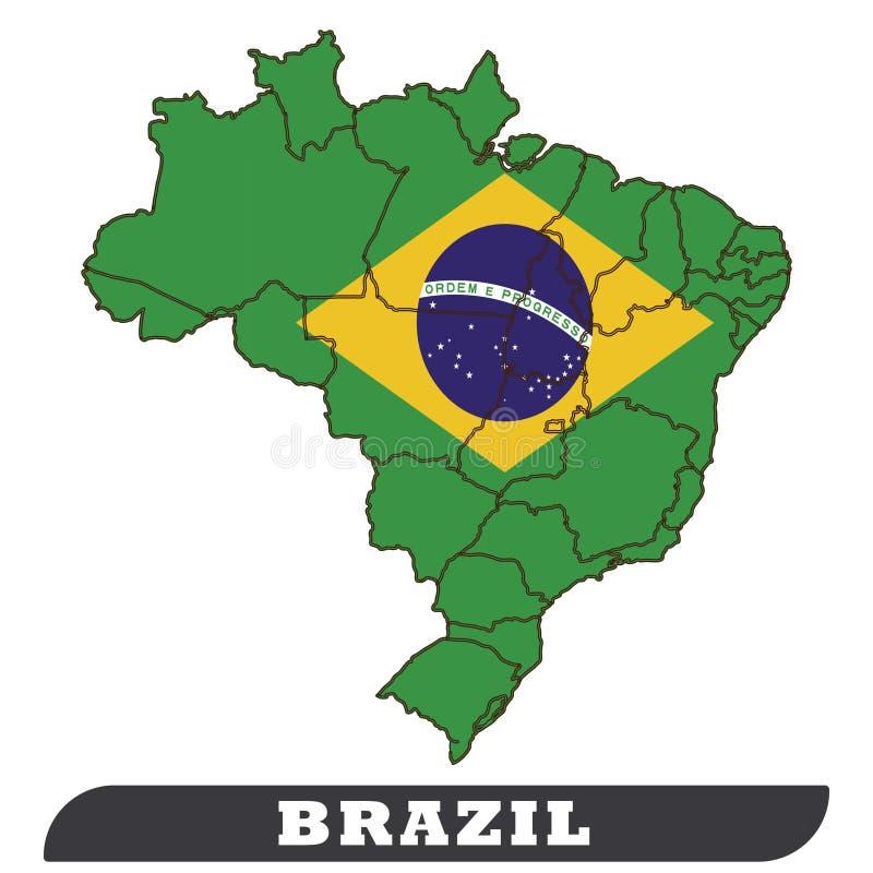 Карта Бразилии и флаг Бразилии, польза флага Бразилии к предпосылк-вектору иллюстрация штока