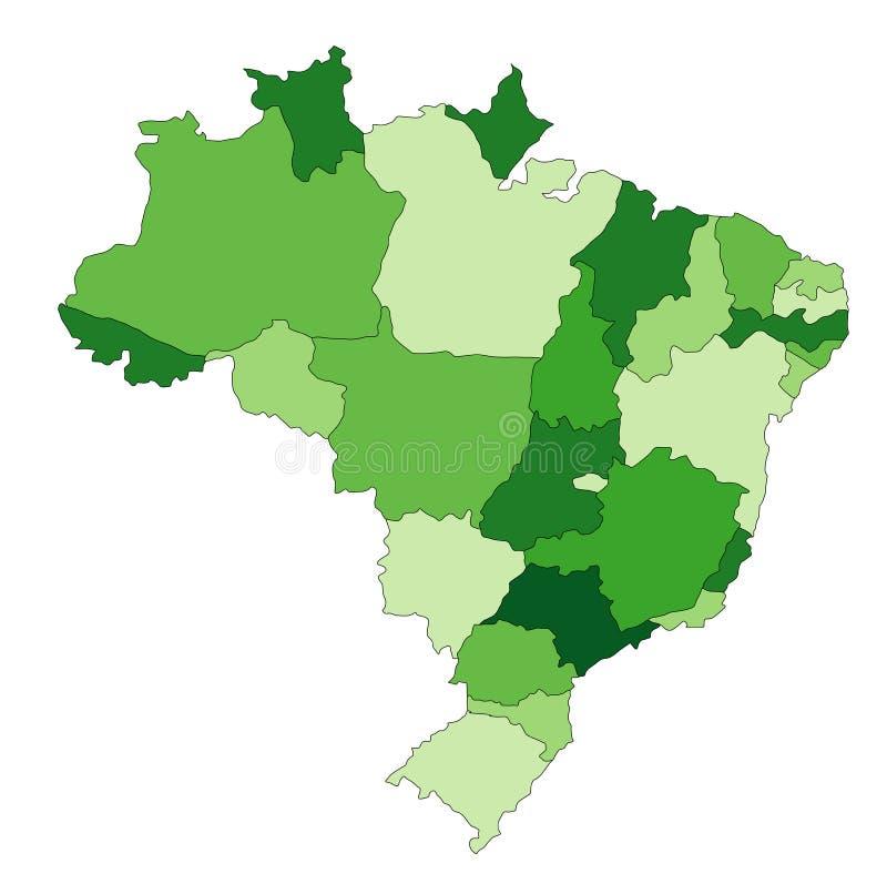 карта Бразилии иллюстрация вектора