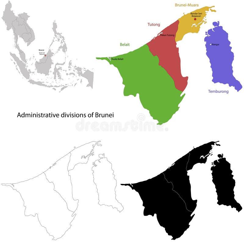 Карта Брунея иллюстрация штока