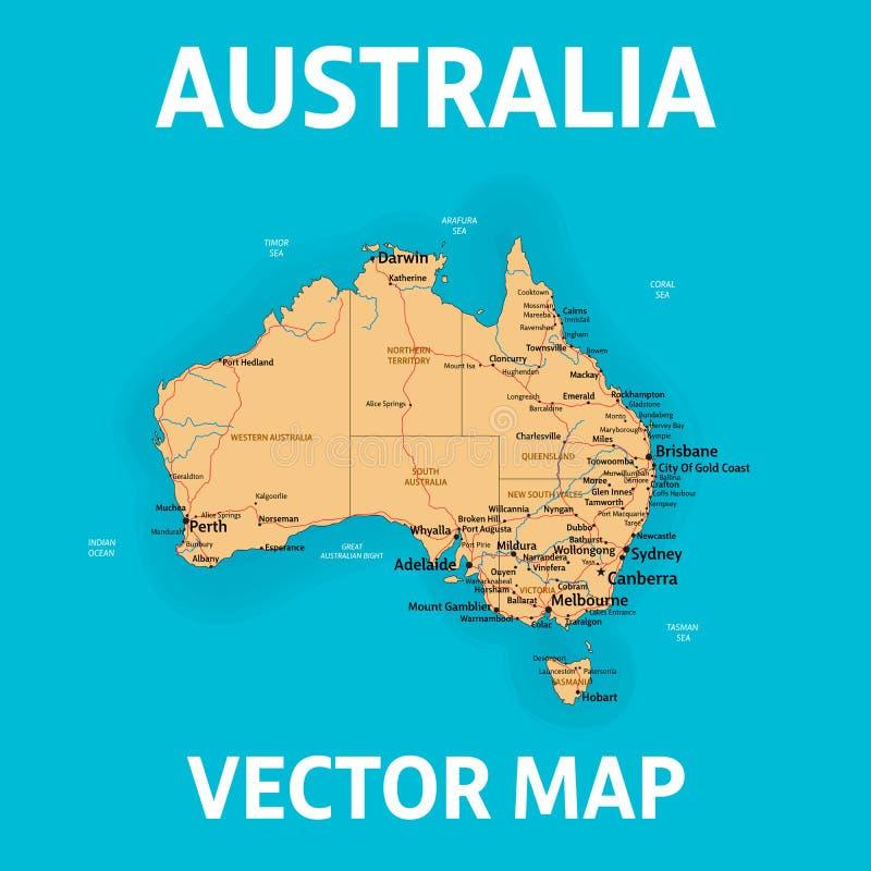 Карта вектора Австралии с государствами, городами, реками и морями на отдельных слоях иллюстрация вектора