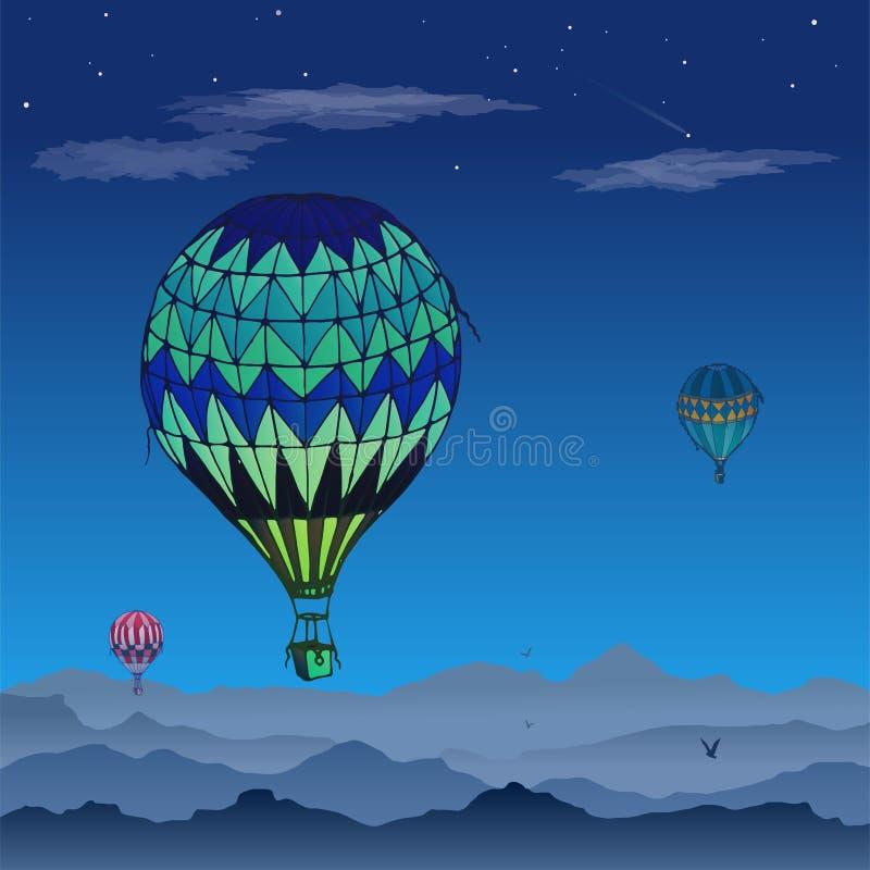Карта вектора воздушных шаров Некоторые по-разному покрашенные striped воздушные шары летая в, который заволокли ночное небо Карт иллюстрация вектора