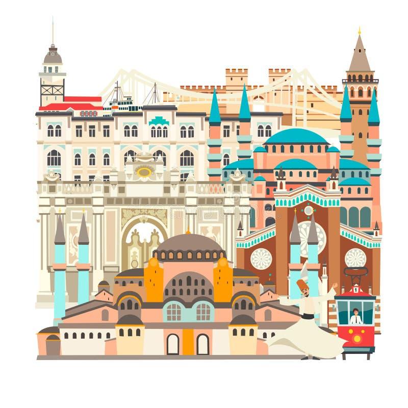 Карта вектора города Стамбула красочная красивая Здание Стамбула абстрактное иллюстрация штока