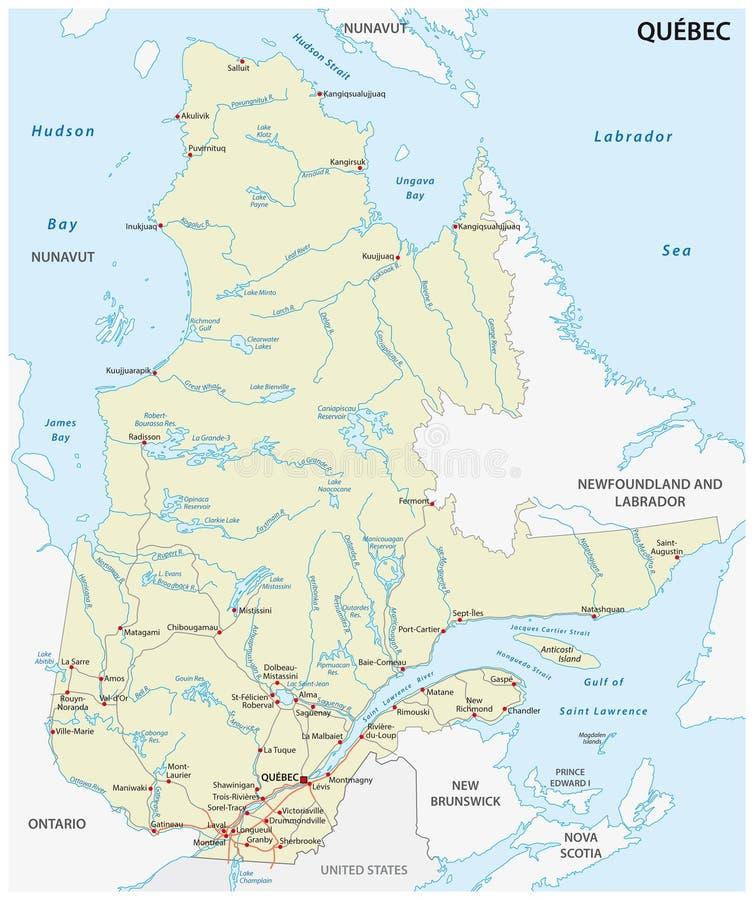 Карта вектора дороги Квебека провинции бесплатная иллюстрация