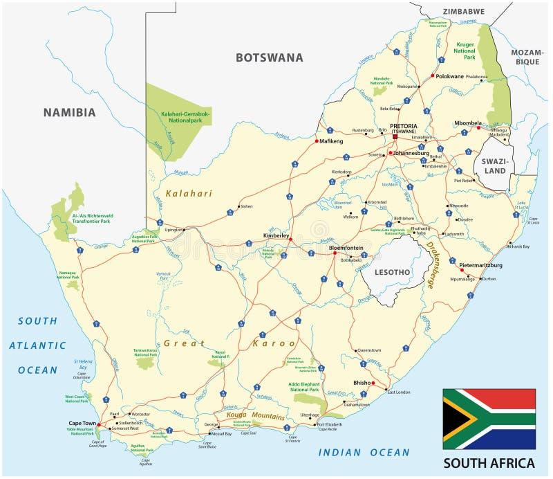 Карта вектора дороги Южной Африки с флагом иллюстрация штока