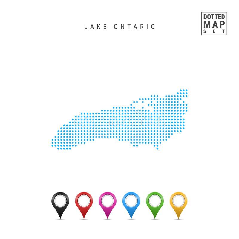 Карта вектора картины точек Lake Ontario Стилизованный силуэт Lake Ontario Комплект пестротканых отметок карты бесплатная иллюстрация