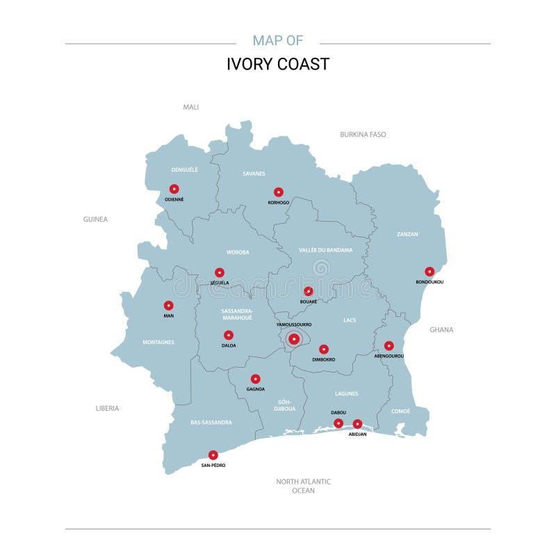 Карта вектора Кот-д'Ивуар иллюстрация вектора