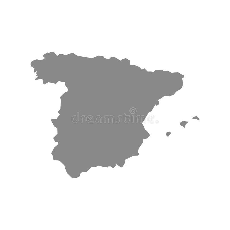 Карта вектора максимума детальная серая – Испания иллюстрация вектора