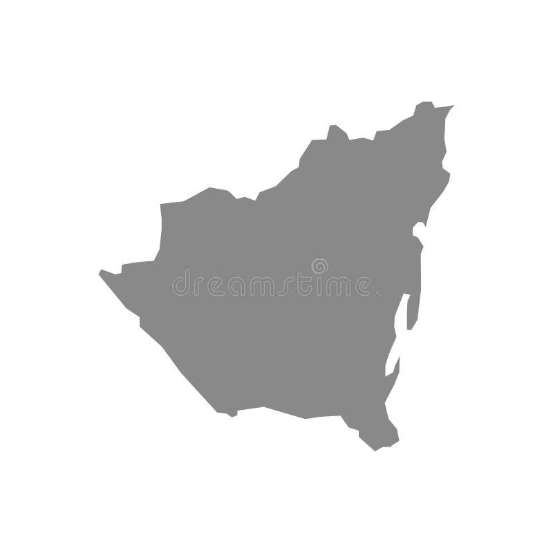 Карта вектора максимума детальная серая – Никарагуа иллюстрация вектора