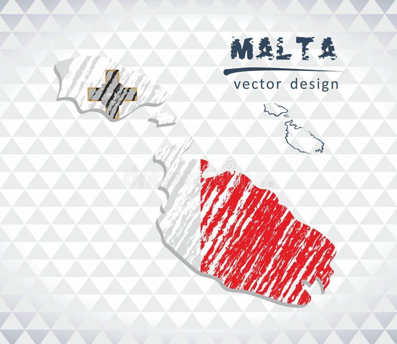 Карта вектора Мальты при внутренность флага изолированная на белой предпосылке Иллюстрация мела эскиза нарисованная рукой иллюстрация вектора