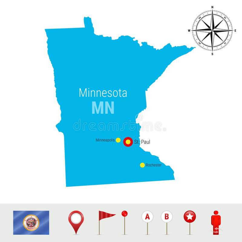Карта вектора Минесоты изолированная на белой предпосылке Детальный силуэт положения Минесоты Официальный флаг Минесоты иллюстрация вектора
