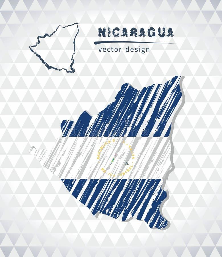 Карта вектора Никарагуа при внутренность флага изолированная на белой предпосылке Иллюстрация мела эскиза нарисованная рукой иллюстрация штока