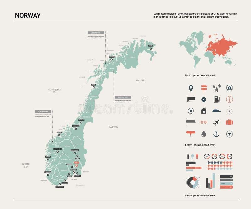 Карта вектора Норвегии иллюстрация вектора