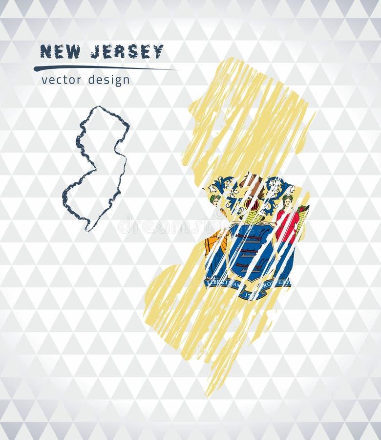 Карта вектора Нью-Джерси при внутренность флага изолированная на белой предпосылке Иллюстрация мела эскиза нарисованная рукой иллюстрация вектора