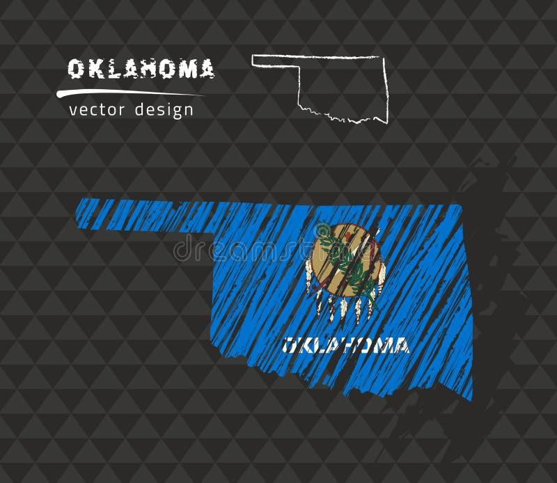 Карта вектора Оклахомы национальная с флагом мела эскиза Иллюстрация мела эскиза нарисованная рукой иллюстрация вектора