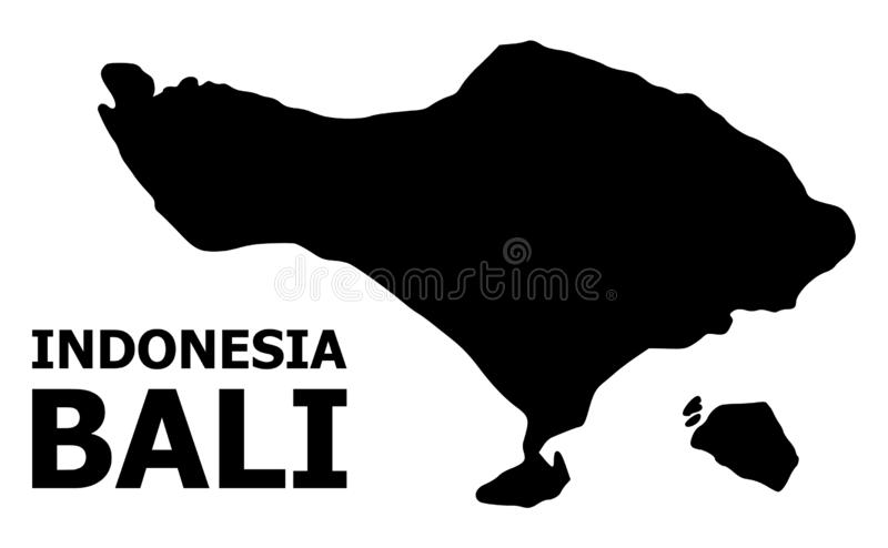 Карта вектора плоская острова Бали с именем иллюстрация вектора