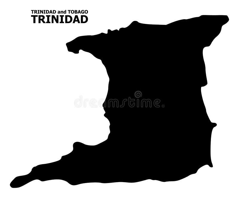 Карта вектора плоская острова Тринидада с титром иллюстрация вектора