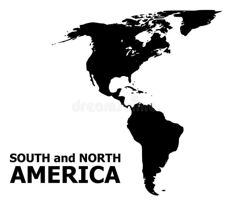 Карта вектора плоская юга и Северной Америки с именем бесплатная иллюстрация