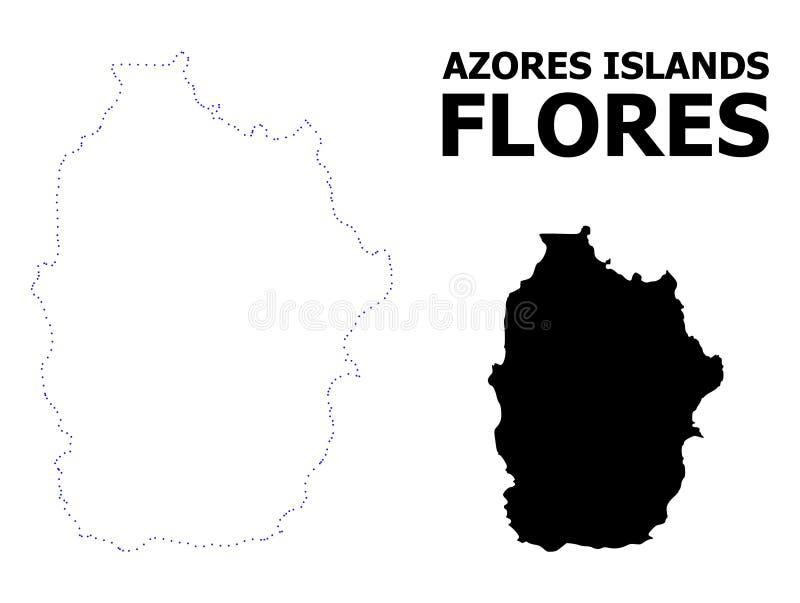 Карта вектора поставленная точки контуром Азорских островов - острова Flores с именем бесплатная иллюстрация
