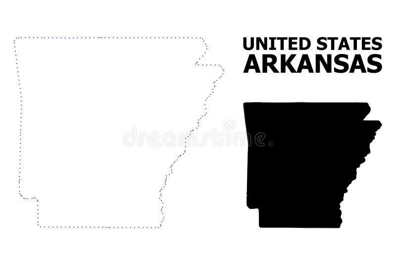 Карта вектора поставленная точки контуром государства Арканзаса с именем иллюстрация вектора