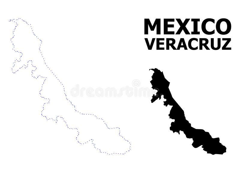 Карта вектора поставленная точки контуром государства Веракрус с титром иллюстрация штока