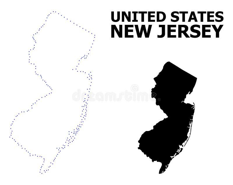 Карта вектора поставленная точки контуром государства Нью-Джерси с именем иллюстрация штока