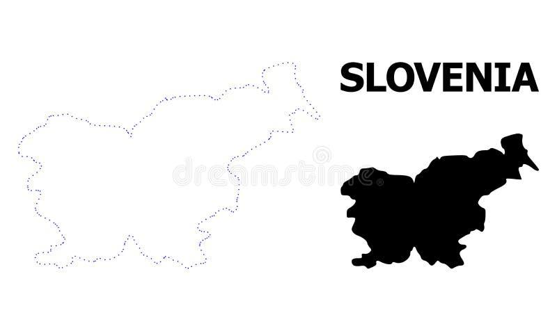 Карта вектора поставленная точки контуром Словении с титром иллюстрация вектора