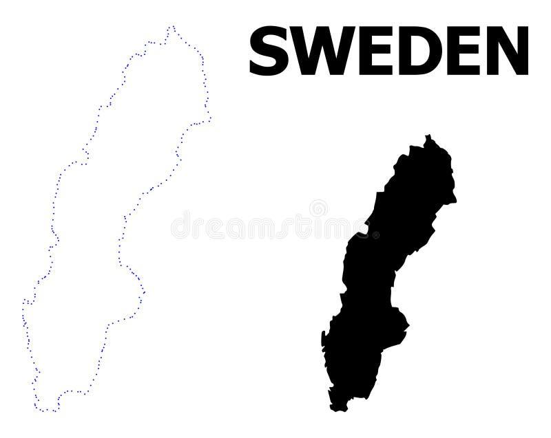 Карта вектора поставленная точки контуром Швеции с титром иллюстрация штока