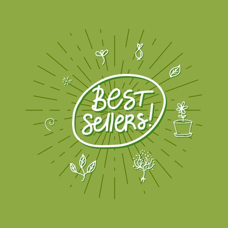 Карта вектора самых лучших продавцов с рукописной надписью на зеленой предпосылке лучей бесплатная иллюстрация