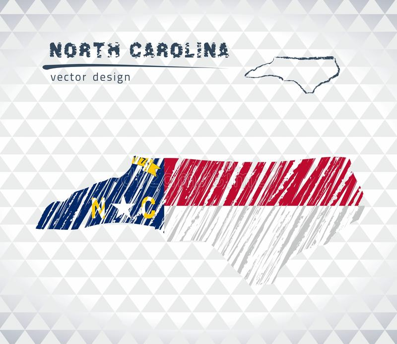 Карта вектора Северной Каролины при внутренность флага изолированная на белой предпосылке Иллюстрация мела эскиза нарисованная ру иллюстрация штока