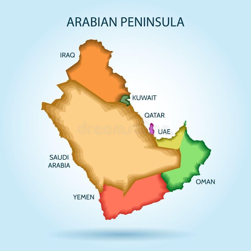 Карта вектора стран залива новая Аравийский полуостров иллюстрация штока