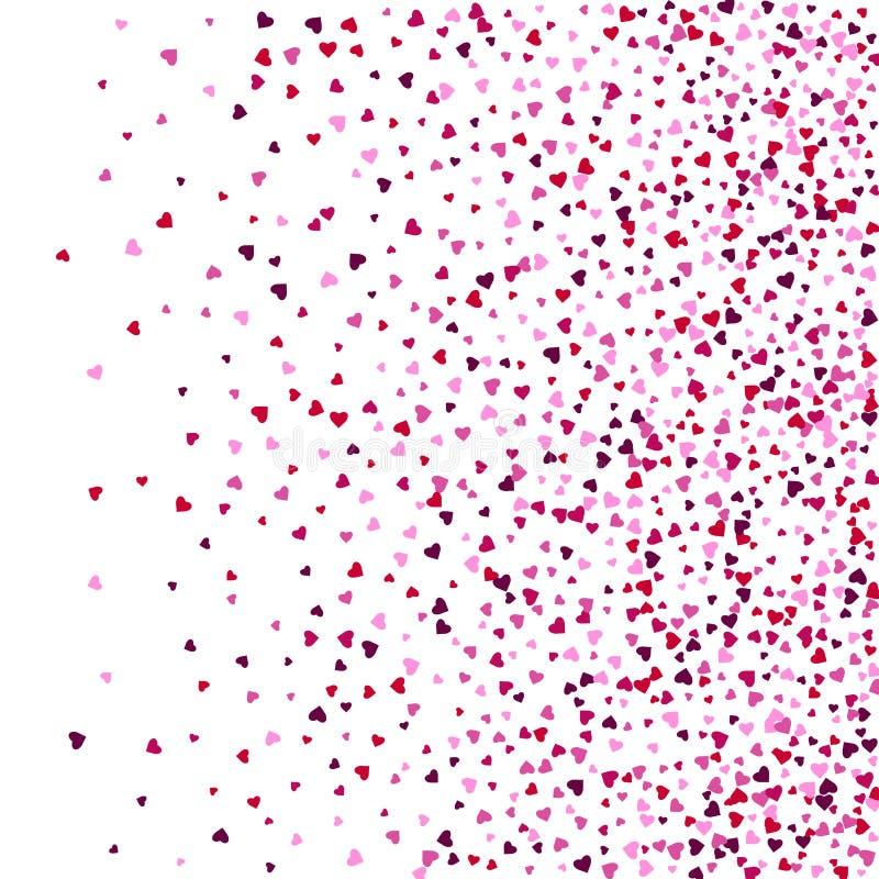 Карта вектора с shimmer Поздравительная открытка с сердцами Красная искра shimmer sparkles Падая сердца Confetti сердец Валентайн бесплатная иллюстрация