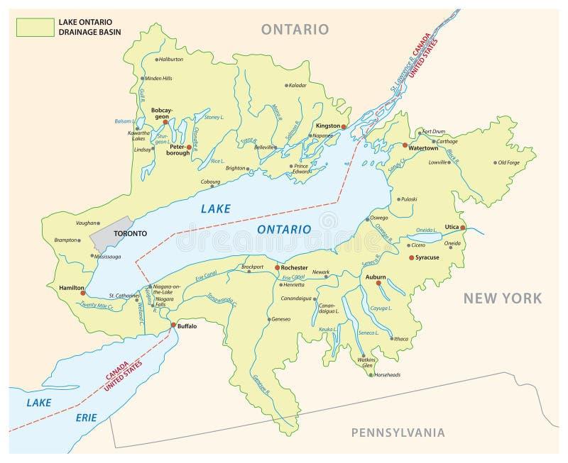 Карта вектора таза дренажа Lake Ontario бесплатная иллюстрация