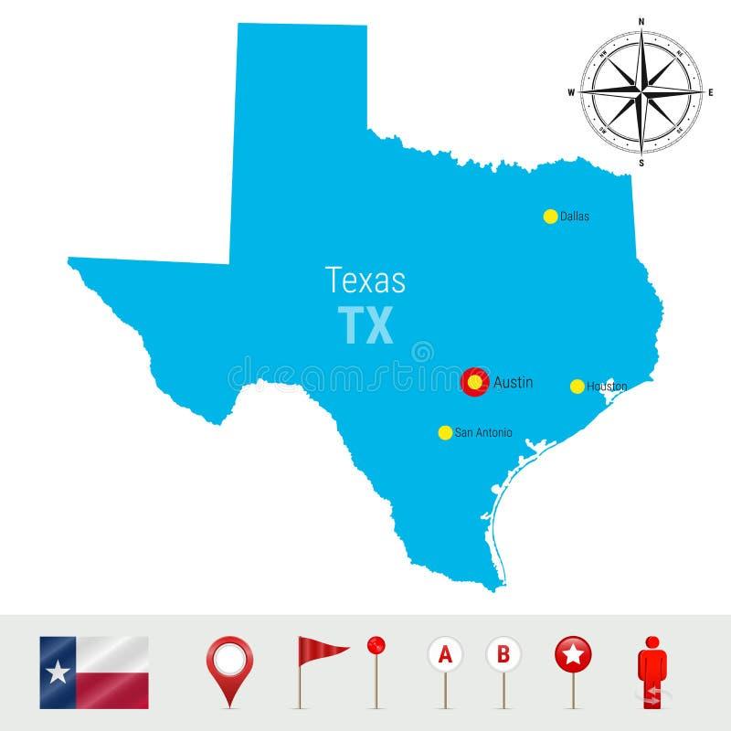 Карта вектора Техаса изолированная на белой предпосылке Высокий детальный силуэт положения Техаса Официальный флаг Техаса бесплатная иллюстрация