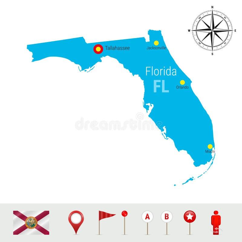Карта вектора Флориды изолированная на белой предпосылке Высокий детальный силуэт положения Флориды Официальный флаг Флориды иллюстрация штока