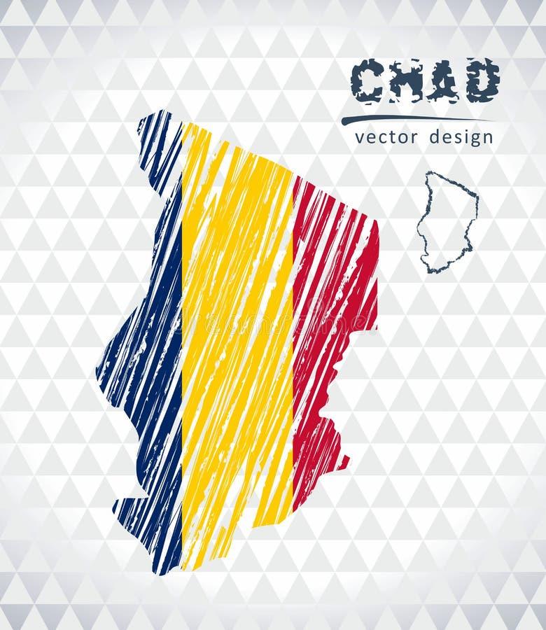 Карта вектора Чада при внутренность флага изолированная на белой предпосылке Иллюстрация мела эскиза нарисованная рукой иллюстрация вектора