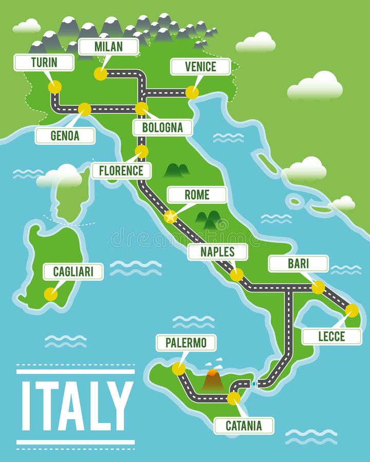 Карта вектора шаржа Италии Иллюстрация перемещения с итальянскими главными городами иллюстрация вектора